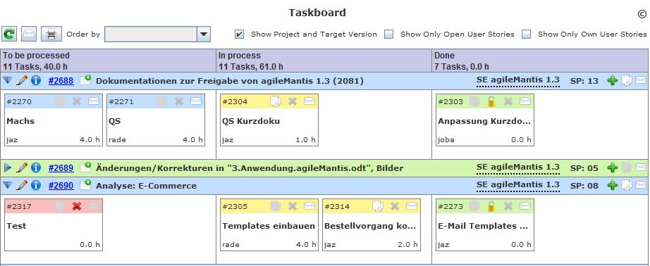 agileMantis Taskboard