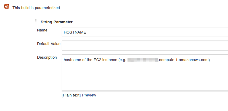 parameterize build with hostname