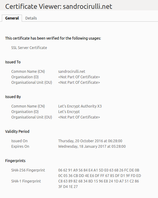 View Certificate