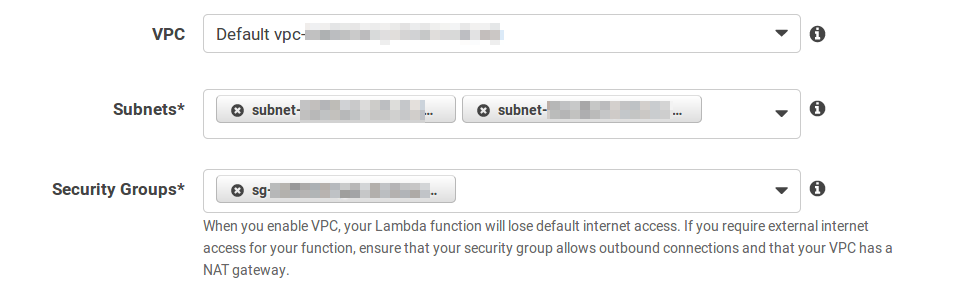 Lambda Configure Function Advanced Settings