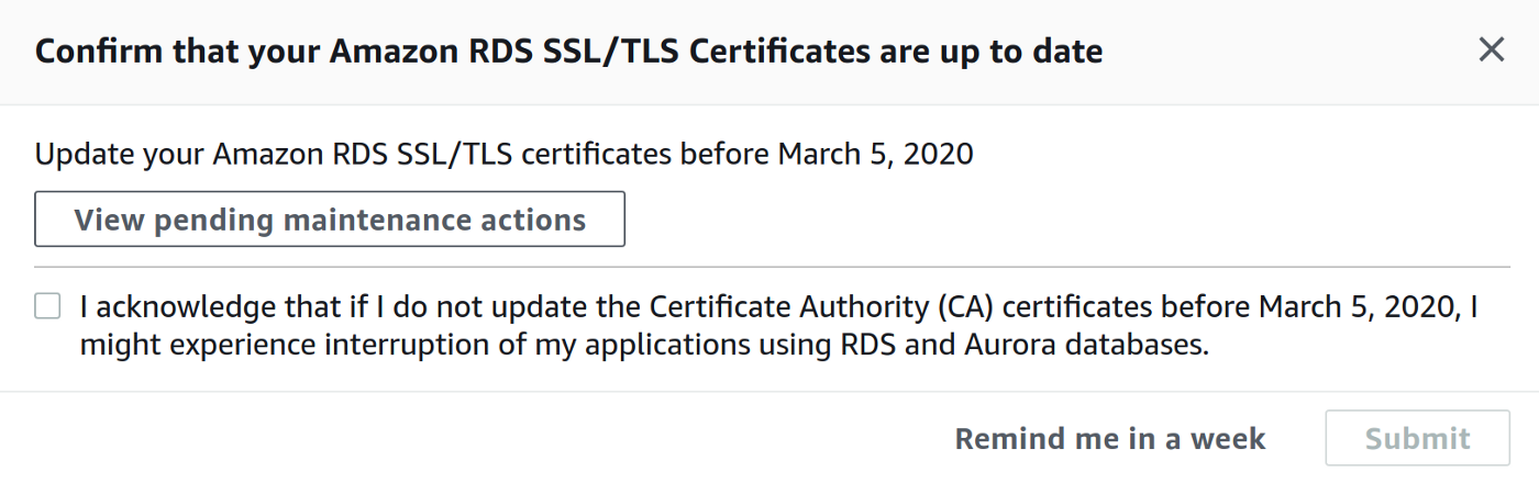 RDS SSL Certificates Notification